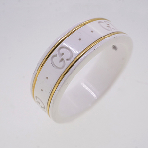 Auth Gucci Ring GG Icon Ceramic,Yellow Gold (18K) Ring White,Yellow Gold