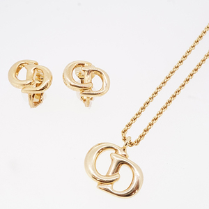 Auth Christian Dior Earring Necklace Set CD Mark Logo Motif GP Plated Gold Color