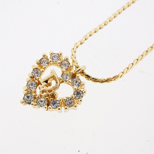 Auth Christian Dior necklace heart motif logo motif GP plated gold color