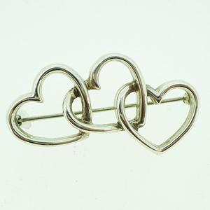 Auth Tiffany Open Heart Brooch Silver 925