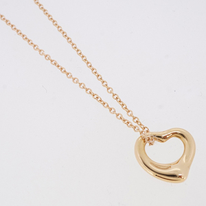 Auth Tiffany Necklace Open Heart K18PG Pink Gold PERETTI Pendant