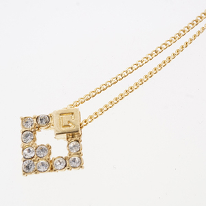 Auth Givenchy necklace G mark logo motif GP plated rhinestone gold color