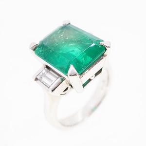リング 天然エメラルド 5.62 ct ダイヤモンド 0.51 ct Pt900 プラチナ 指輪