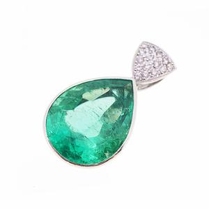 ペンダントトップ 天然エメラルド 11.53 ct ダイヤモンド 0.15 ct Pt900 プラチナ