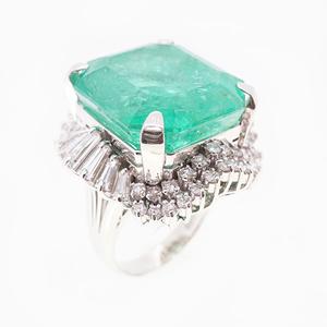 リング 天然エメラルド 35.59 ct ダイヤモンド 3.37 ct  Pt900 プラチナ 指輪