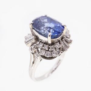 リング 天然サファイア 6.13 ct ダイヤモンド 0.91 ct Pt900 プラチナ 指輪