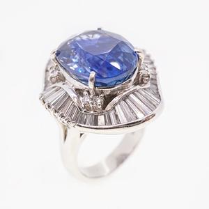 リング 天然サファイア 13.89 ct ダイヤモンド 2.45 ct  Pt900 プラチナ 指輪
