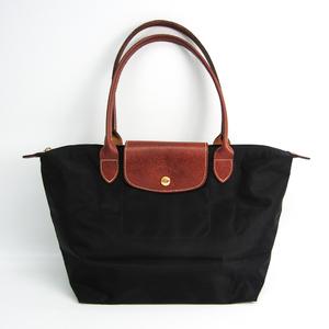 Longchamp Le Pliage S 2605 089 001 Women's Nylon,Leather Tote Bag Black,Brown
