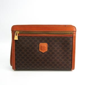 Celine Macadam Men's PVC,Leather Clutch Bag Brown,Dark Brown