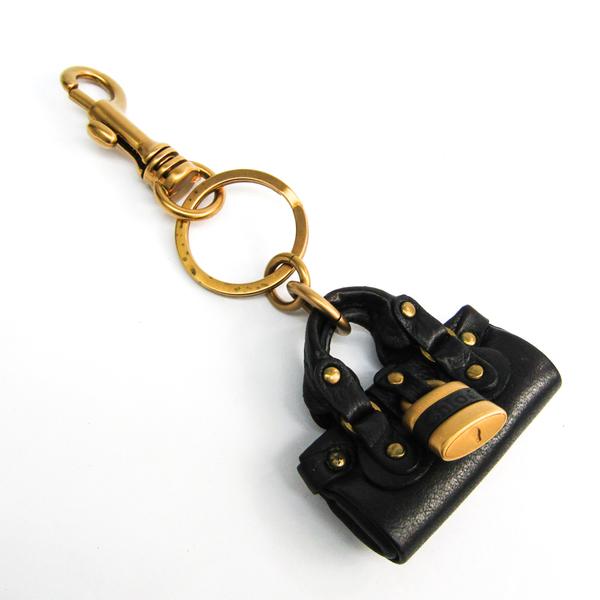 クロエ(Chloé) パディントン バッグチャーム キーリング 7APC96 キーホルダー (ブラック,ゴールド)