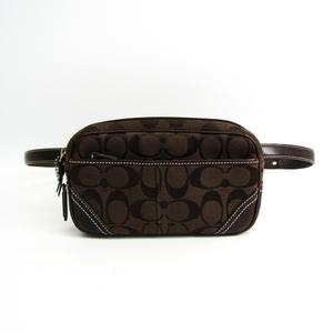 Coach Signature Mini Unisex Leather,Canvas Fanny Pack Dark Brown