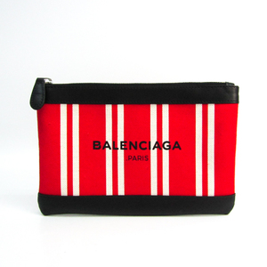 Balenciaga Navy Clip S 420406 Unisex Leather,Canvas Clutch Bag Black,Red Color,White