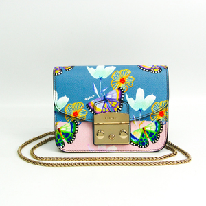 Furla Metropolis Mini Butterfly Pattern Flower Pattern BGZ7-H89-D16 Women's Leather Shoulder Bag Blue,Multi-color