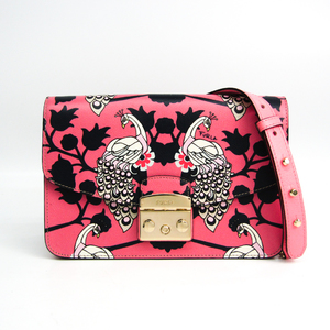 Furla Metropolis Animal Pattern Flower Pattern Women's Leather Shoulder Bag Black,Multi-color,Pink