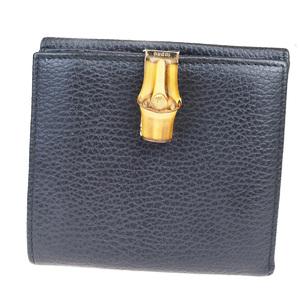 グッチ(Gucci) レザー,バンブー 財布(二つ折り) ブラック