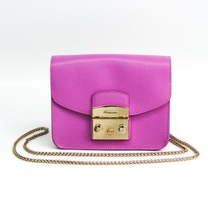 Furla Metropolis Mini BGZ7 ARE Women's Leather Shoulder Bag Light Purple