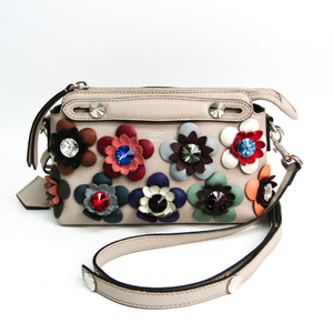 Fendi By The Way Mini Floral Pattern 8BL135 Women's Leather Handbag,Shoulder Bag Gray,Multi-color