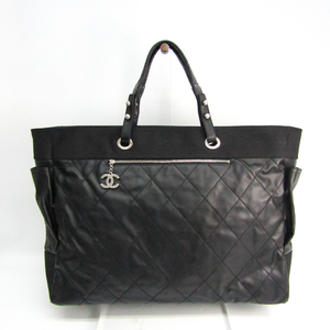Chanel Paris Biarritz TGM Women's Coated Canvas,Leather Tote Bag Black