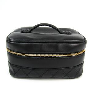 シャネル(Chanel) ビコローレ 化粧ポーチ レディース レザー バニティバッグ ブラック