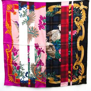 Salvatore Ferragamo Flower Bird Pattern Patchwork Style Fall / Winter 2019 Collection Women's Silk Scarf Checked Multi-color