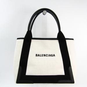 Balenciaga Navy Cabas S 339933 Women's Canvas,Leather Handbag Black,Off-white