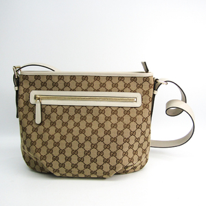 Gucci GG Canvas 388930 Women's GG Canvas,Leather Shoulder Bag Beige,Brown,Off-white