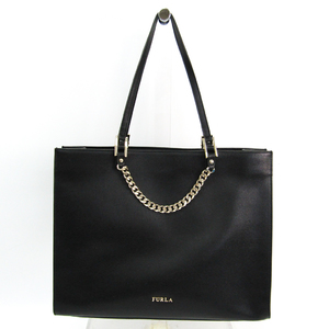 Furla MAGGIE Chain Women's Leather Tote Bag Black