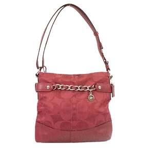 Auth Coach Signature F18862 Women's Canvas Shoulder Bag Bordeaux
