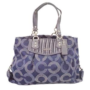 Auth Coach Op Art F20056 Women's Canvas Handbag,Shoulder Bag,Tote Bag Navy