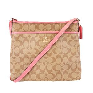Auth Coach Signature F29210 Women's PVC Shoulder Bag Beige
