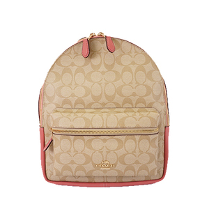 Auth Coach Signature F32200 Women's PVC Backpack Beige,Pink