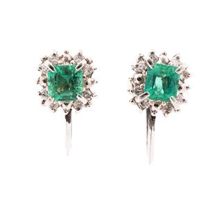 Auth Earring Emerald 0.31 ct Diamond Screw Type 0.09 ct Pt900 Platinum
