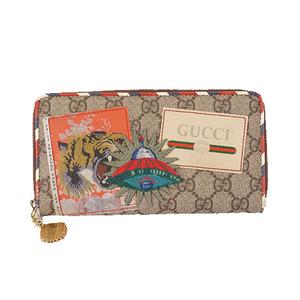 Auth Gucci 473909 Women,Men,Unisex GG Supreme Long Wallet (bi-fold) Beige