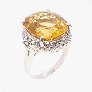 Auth Ring Citrine 11.59 ct Diamond 0.35 ct Pt900 Platinum