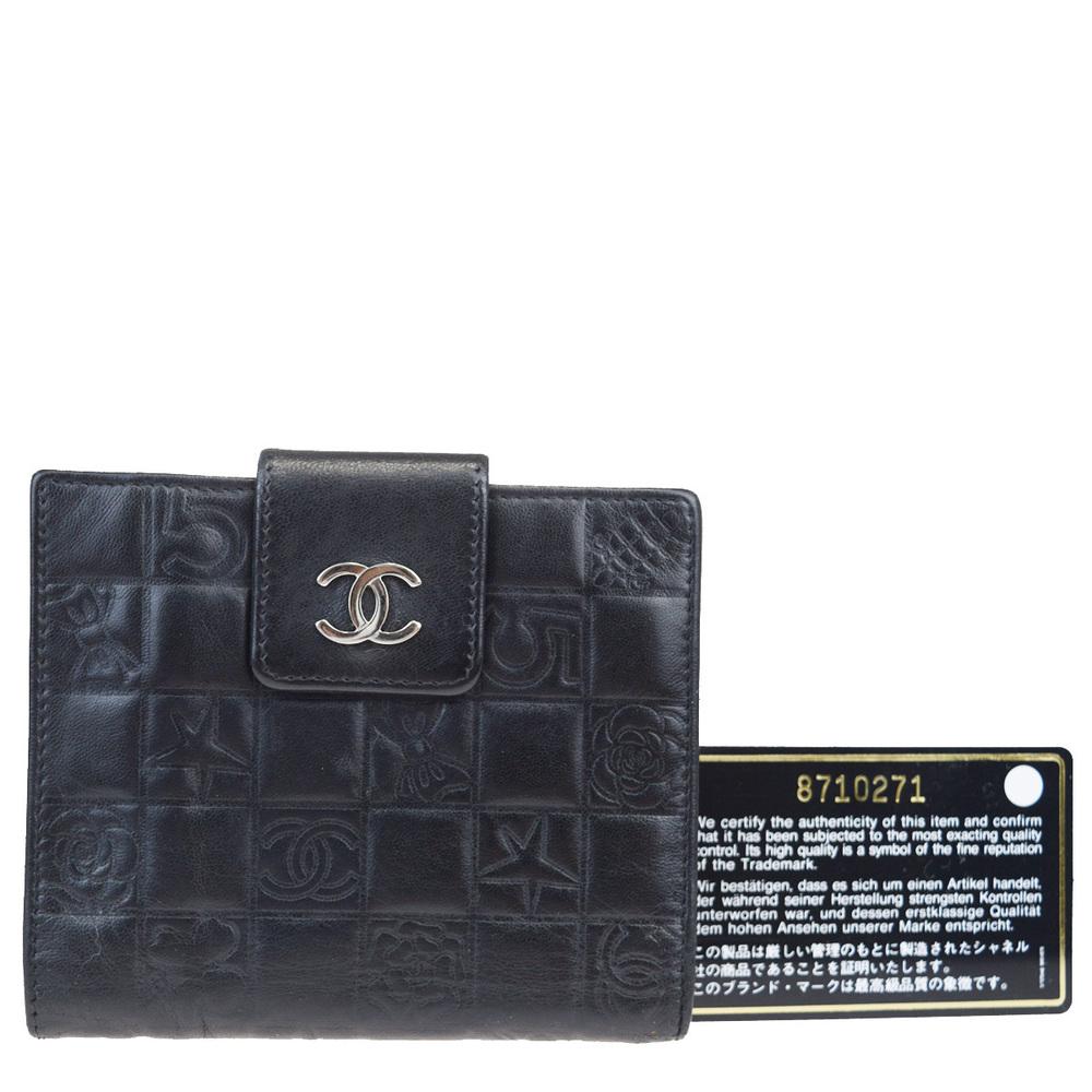 シャネル(Chanel) アイコン レザー 財布(二つ折り) ブラック
