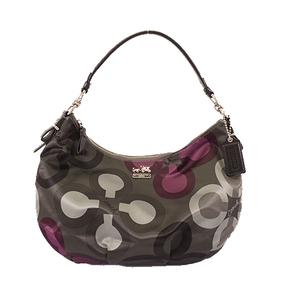 Auth Coach Op Art 15951 Women's Nylon Handbag,Shoulder Bag Green