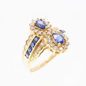 Auth Ring Sapphire 1.02 ct Diamond 0.44 ct K18YG Yellow Gold