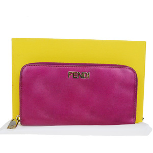 Fendi Round Zipper Leather Long Wallet (bi-fold) Pink