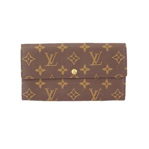 Auth Louis Vuitton Monogram M61725 Women's Long Wallet (bi-fold) Brown