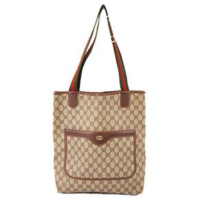 Auth Gucci Sherry Line Men,Women,Unisex GG Supreme Tote Bag Beige