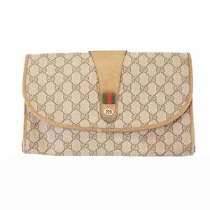 Auth Gucci Sherry Line GG Supreme 89 01 031 Men,Women,Unisex Clutch Bag Beige