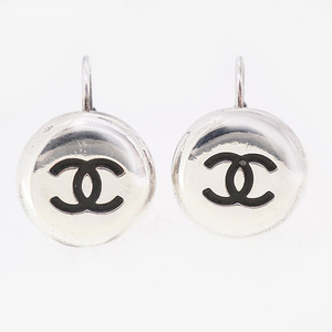 Auth Chanel Earrings Metal Material Silver Color 97P 1997 Spring Collection Vintage