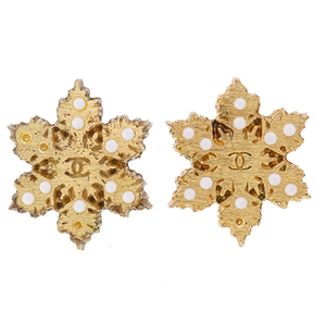 Auth Chanel Earrings Coco Mark Crystal Motif GP Plated Gold Color 01A Fall / Winter 2001 Collection