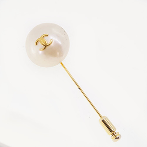 Chanel Brooch Cocomark Faux Pearl GP Plated Gold Color 93A