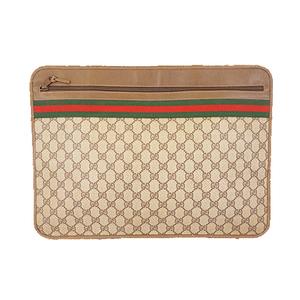 Auth Gucci Sherry Line Supreme 89 02 060 Men,Women,Unisex Clutch Bag Beige