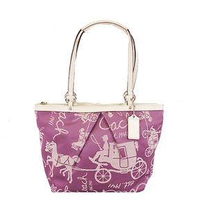 Auth Coach F14482 Women's Canvas Tote Bag Purple