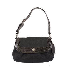 Auth Coach Signature F13738 Women's Canvas Handbag,Shoulder Bag Black