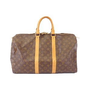 Auth Louis Vuitton Monogram M41428 Men,Women,Unisex Boston Bag Brown