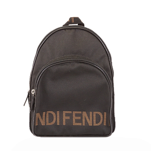 Auth Fendi Rucksack Women's Nylon Canvas Backpack Black,Brown