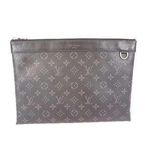Auth Louis Vuitton Monogram Eclipse Pochette Discovery M62291 Men's Clutch Bag